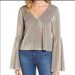 Leith Metallic gold bubble bell sleeve blouse XS